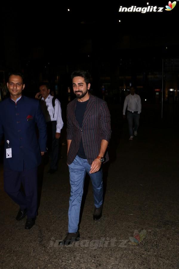 Ayushmann Khurrana, Bhumi Pednekar Spotted at Airport
