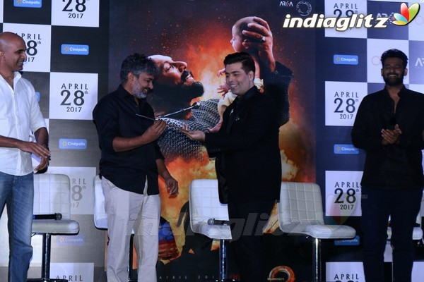 Prabhas, Rana Daggubati, Karan Johar at 'Bahubali 2' Trailer Launch