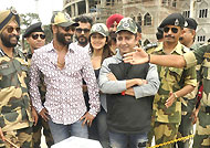 'Shivaay' team with jawans at Wagah Border