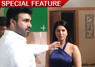 Sunny Leone and Aarya Babbar on the sets of 'Tera Intezaar'