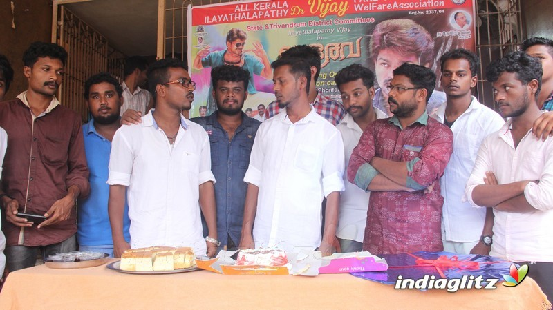 Bhairava Audio launch celebrated by Vijay fans with differently abled children