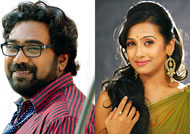 Poojitha Menon as Biju Menon's wife in 'Swarnakaduva'