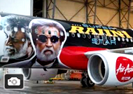 Superstar Rajini Kabali image on AirAsia planes