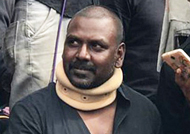 Raghava Lawrence returns to Marina protest, immediately after coming back from the hospital