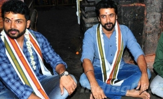 Suriya and Karthi at world famous temple praying for 'Chinna Babu'