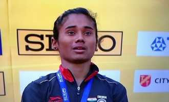 Video: Hima Das gets emotional and cries during National Anthem after winning gold