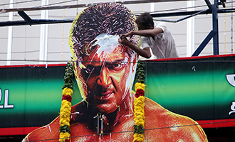 Vivegam Movie Fans Celebration in Chennai Kasi Theater
