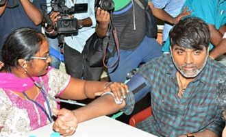 Vijay Sethupathi donates blood in Stunt Union 51st year Celebration