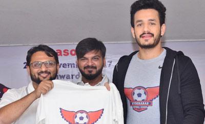 Akhil Announced As Brand Ambassador Of Hyd Football League