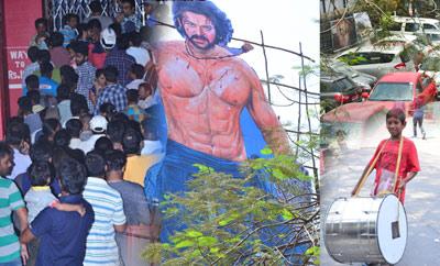 'Baahubali 2' Prabhas Fans Hungama at Sudarshan Theater, Hyd