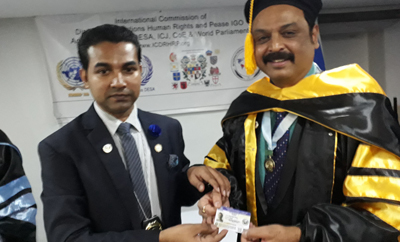 Naresh Receives H.E. Award & PHD from ICDRHRP