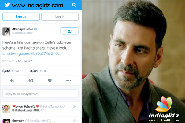 Akshay Kumar makes spoof about Delhis Odd Even rule in Airlift way ...